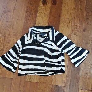 INC cropped zebra print sweater jacket EUC